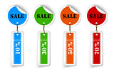 Sale sticker style sign with hanging labels