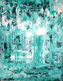 Turquoise and White Abstract Art Painting
