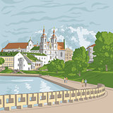 Vector sketch of a old town, cityscape with church and river