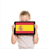 Girl holding tablet pc