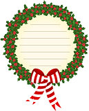 Christmas holly wreath label