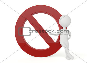 3d humanoid character present a forbidden sign