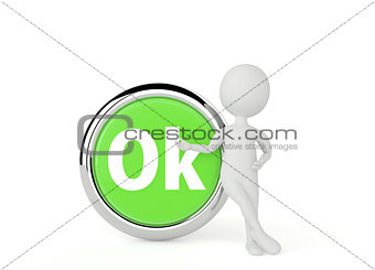3d humanoid character show a ok button