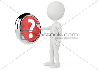 3d humanoid character push a question mark  button