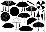 Set of different umbrellas