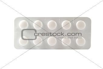 Closed up plain white blister pack