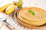 Banana pancake on dining table