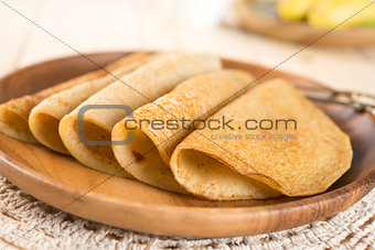 homemade banana pancake or crepe