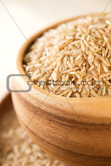 Uncooked organic basmati brown rice.