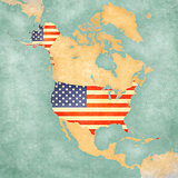 Map of North America - USA (Vintage Series)