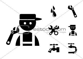 Black Plumber Icons Set