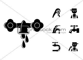 Black Faucet / Tap Icons Set