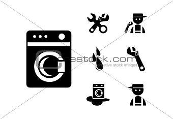 Black Washing machine Icons Set