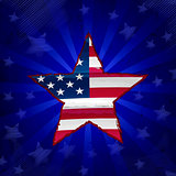 USA flag in drawing star over blue rays