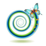 Butterfly moving in spiral