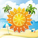Orange fruit and summer beach