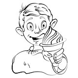 Cartoon little boy eating ice cream