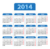 Blue glossy calendar for 2014 year in Spanish