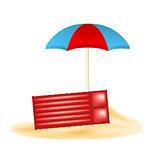 Beach umbrella and air mattress