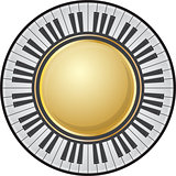 Round frame with piano keys