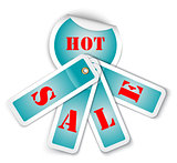 Sale sticker with attached labels and with HOT SALE words