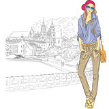 Vector sketch of a fashion stylish girl in the old city
