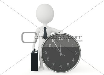 3d humanoid business character present a clock