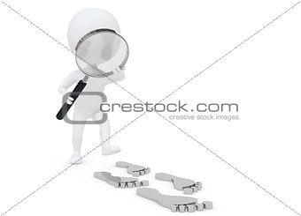3d humanoid character follow the footprint with a lens