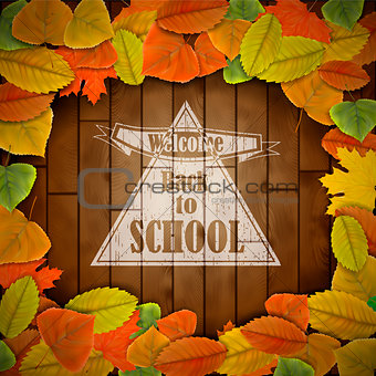 Back to school wood board with leaves