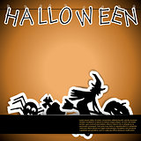Halloween card with stickers vector illustration