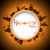 Happy Halloween with devildom in fog vector illustration