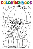 Coloring book rainy weather theme 1