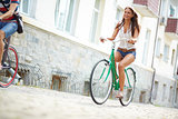 Joyful bicyclist