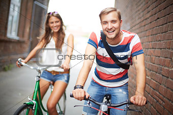 Joyful bicyclists
