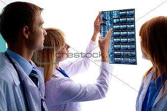 Looking at x-ray photograph