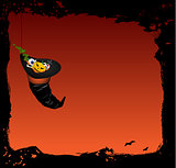 Halloween vector background with magic witch hat