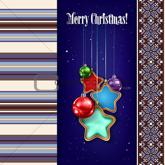 abstract Christmas background with decorations and ornament