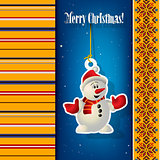 Abstract Christmas background with snowman