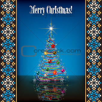 Abstract grunge background with white Christmas tree