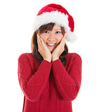 Joyful Asian Christmas woman
