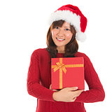 Asian Christmas Girl Holding Gift Box