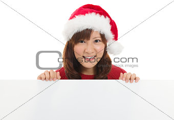 Cute Asian Christmas santa woman