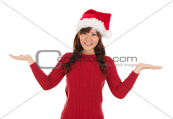 Asian Christmas girl showing empty palms