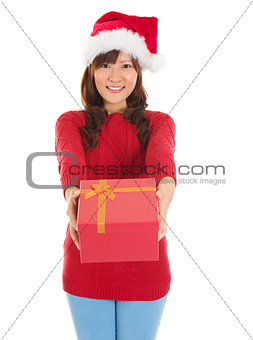 Santa Woman happy giving Christmas Gift Box
