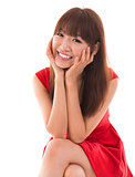 Portrait of cute Asian woman smiling
