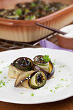 Baked eggplant and yucchini with hemp seed