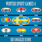 Ski glasses with the flags of countries