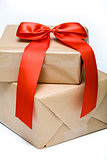 Red bow on gift boxes