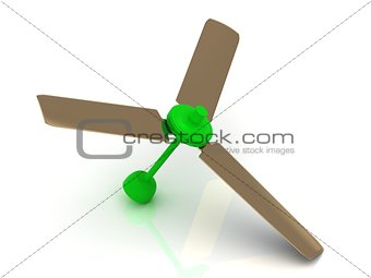 Green ceiling fan with a reflective surface