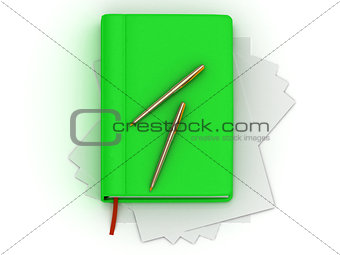 Green organizer and two gold pens